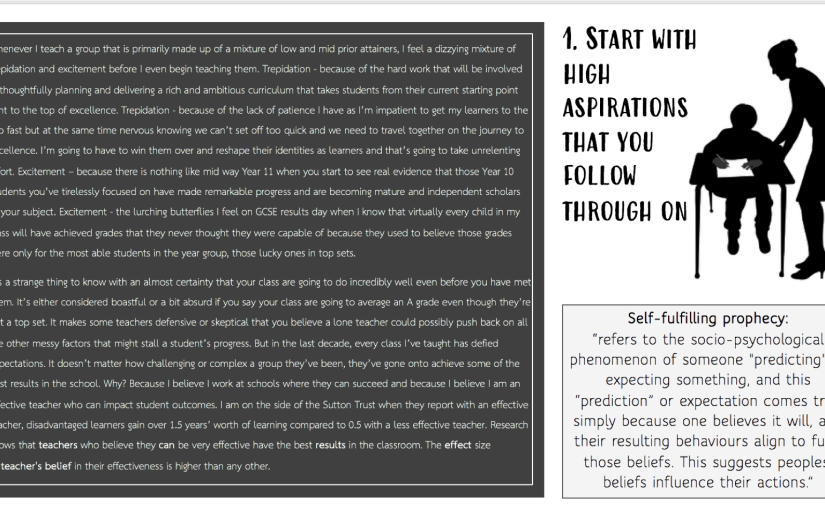 Start with high aspirations  that you follow throughon